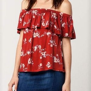 NWT Floral Off the Shoulder Ruffle Top