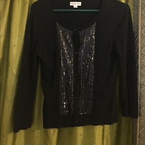 Sweaters - Quarter sleeves sequin cardigan