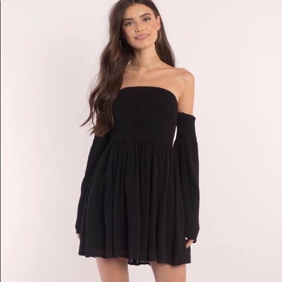 Tobi Dresses Off The Shoulder Ellie Black Skater Dress Xs Poshmark