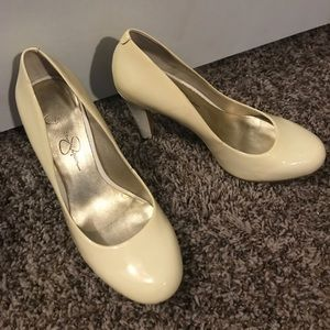 Pretty shiny white heels.  Worn once.