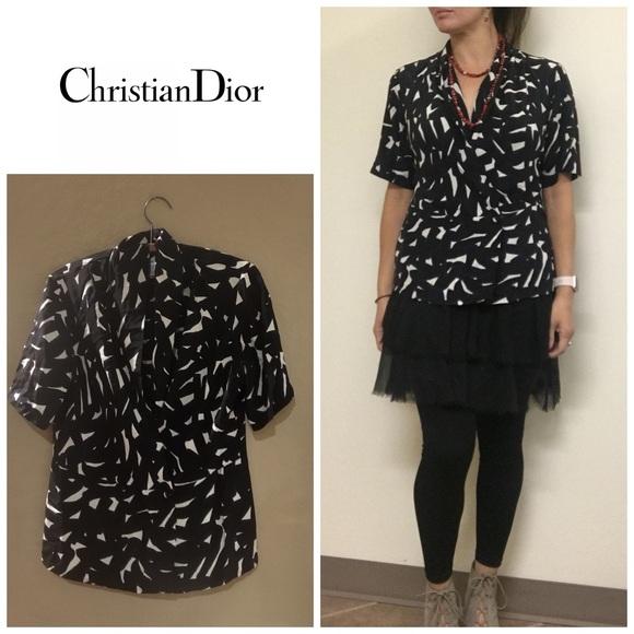 7ed367f54cad76 Dior Tops | Christian Silk Print Drapey Blouse | Poshmark