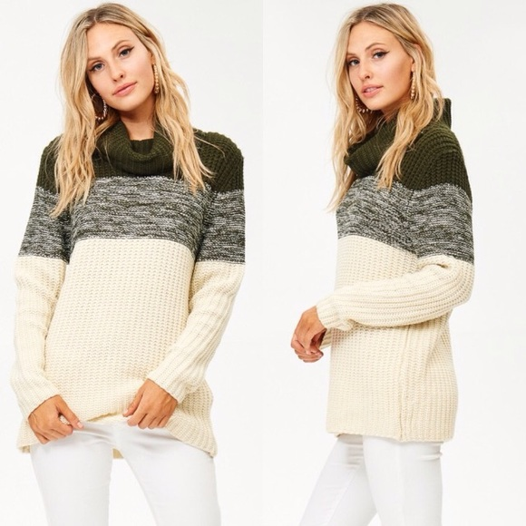 Glamvault - Olive & Cream Cowl Neck Sweater from Sally's closet on ...