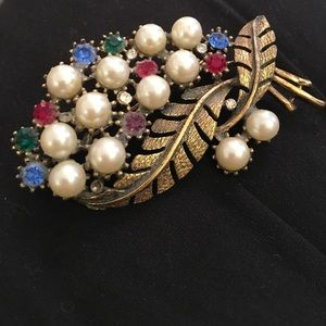 Heavy ornate large fruit salad bronzy brooch