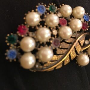 vintage Jewelry - Heavy ornate large fruit salad bronzy brooch