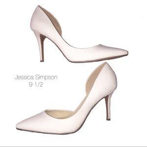 a2450e07d95 Jessica Simpson Shoes - Jessica Simpson White Snakeskin Point Pumps 9 1 2