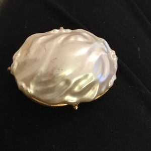 Large baroque oval faux pearl pin vintage