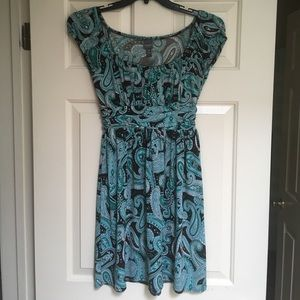 Brown and green paisley dress with cap sleeves