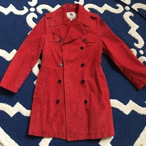 💝Sale💝Burberry suede leather Trench coat