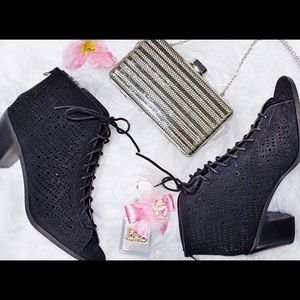 Shoes - Open Toe Faux Suede Booties