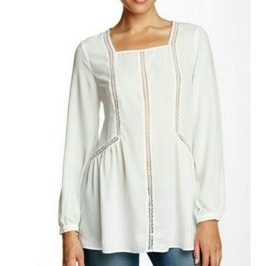 Ro & De Peasant Embroidered Inset Blouse