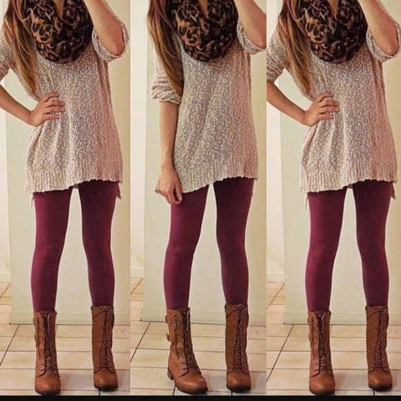 Burgundy fleece leggings under 25 Boutique