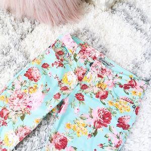 Mint Floral Jeggings Pants