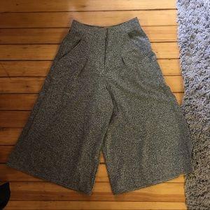 Marled grey wide leg culottes