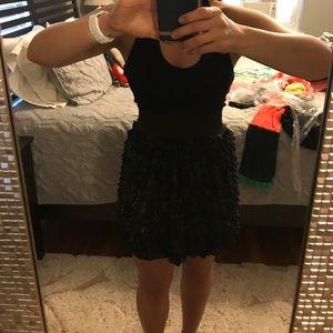 halter dress black w/ gold shimmer ruffles