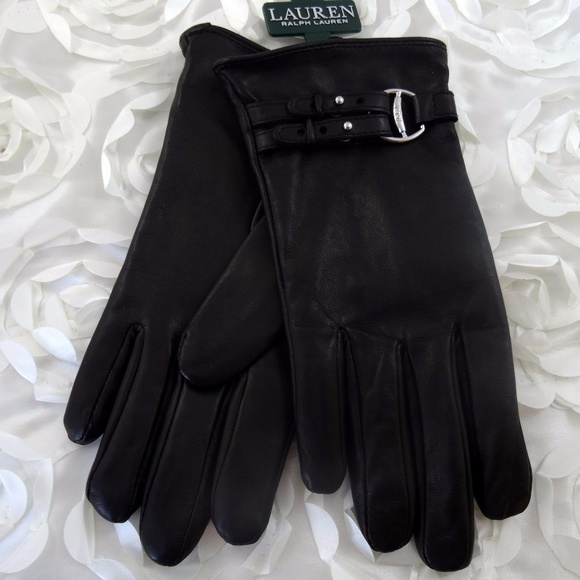 NWT Ralph Lauren Womens L Black Wool Sheep Leather Gloves