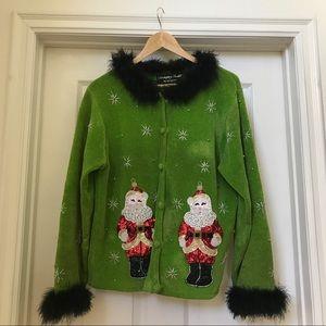 Vintage Radko Ugly Christmas Sweater Beaded Santa