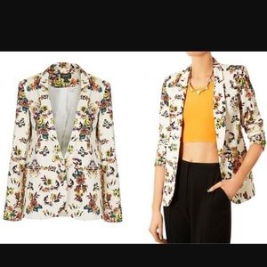 TOPSHOP Floral Pixel Structured 1 Button Blazer.