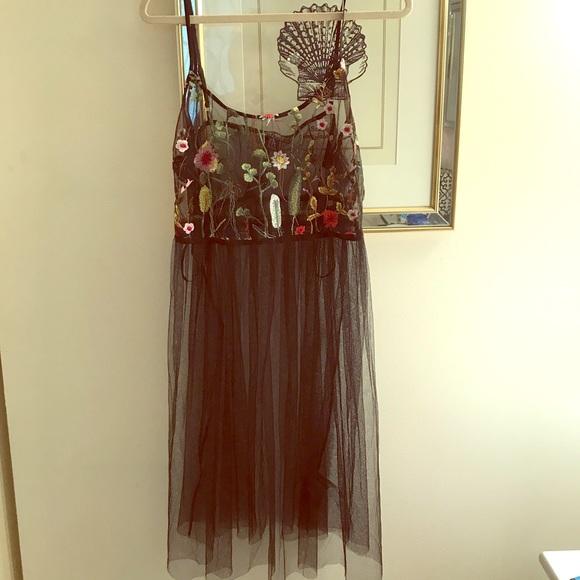 82974eca009 Sheer embroidered black floral dress