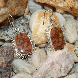 """The Atlantis-Stone Ocean Jasper Earrings 1 1/2"""""""