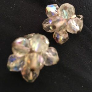 Beautiful sparking prism glass bead earrings clip