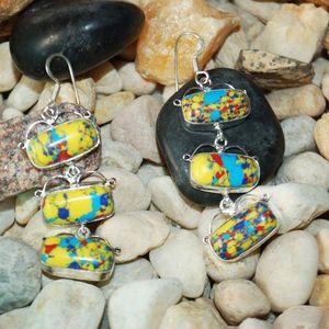 "Colorful Howlite Droopy Earrings 3"" Long"