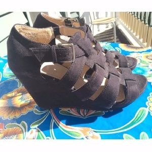 Black Faux Suede Edgy Wedges