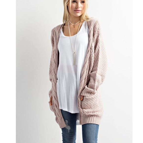 5160cff583c 🆕Rachel Cable Knit Slouchy Cardigan Sweater Boutique