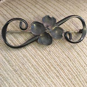 "Antique marked "" sterling "" dogwood brooch"
