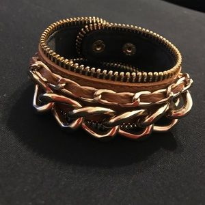 Jewelry - Faux Leather Bracelet with Gold Accents