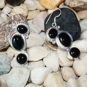 "Polished Black Onyx Earrings 2.2"""