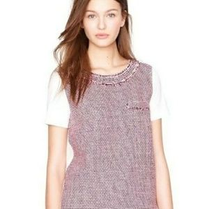 J Crew pink tweed front t shirt