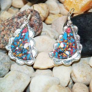 "Beautiful Matte Colored Howlite earrings 2"""