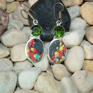Howlite w Glass Bead Accents Earrings