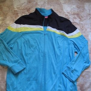 Woman Within Womens 1X Blue Active Cotton Jacket Z