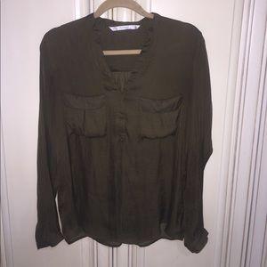 Zara Olive green satin blouse