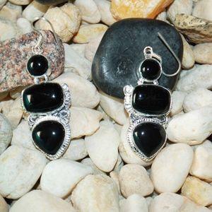 """Black Onyx Statement Earrings 2.2"""""""