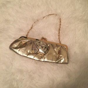 Handbags - Gold Clutch w/ Rosette