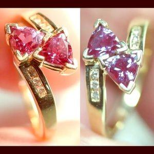 Jewelry - 10K Y GOLD DOUBLE ALEXANDRITE W/DIAMONDS RING