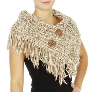 Accessories - 🎁TWO BUTTON FRINGED SHOULDER SCARF🎁