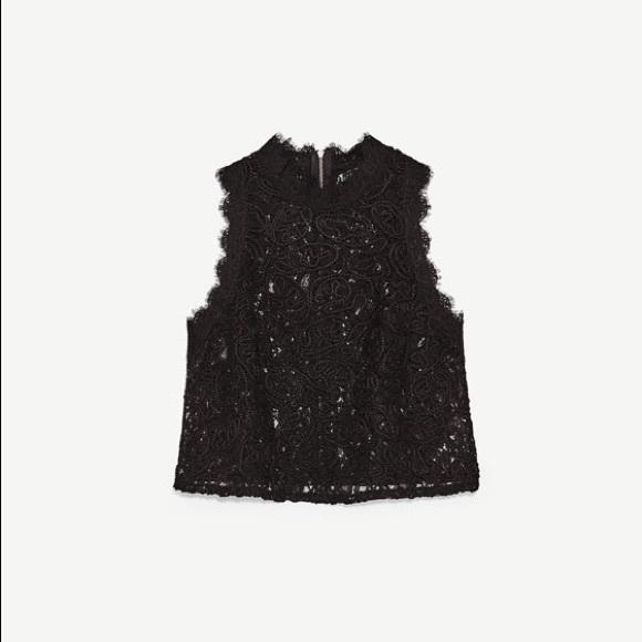 87406ad0e0c451 Zara black lace crop top. M 59f0e2ff2de512c61501dd48