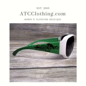 Accessories - White and Green Sunglasses with tattoo Design