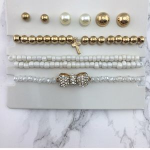 White bracket stack with earrings set