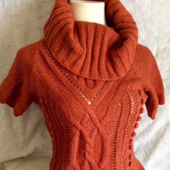 Hm Sweaters Hm Burnt Orange Pom Pom Chunky Cowl Neck Sweater