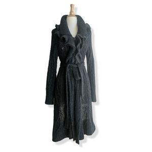 Charcoal gray & black maxi length cardigan NWOT