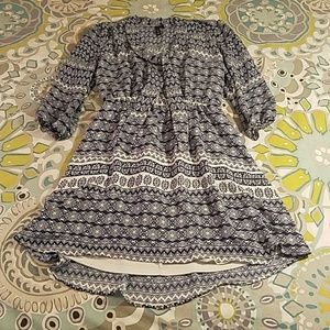 Lovely Navy and White Patterned Dress