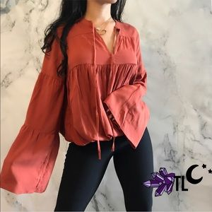 Terracota fall extra wide bell sleeve girly top