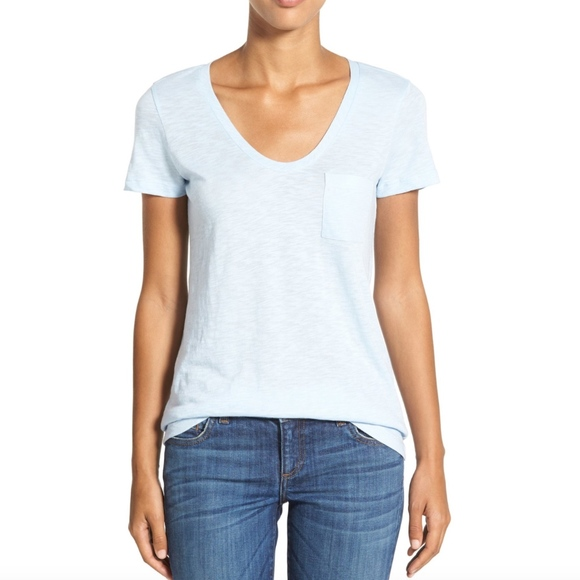 73ff9e433d7472 Caslon Tops - CASLON Rounded V-Neck Tee in Blue Cashmere