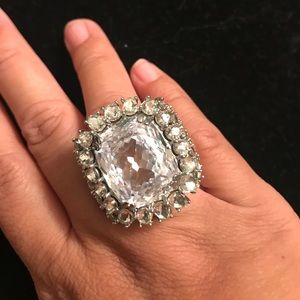 Jewelry - Huge crystal cocktail ring size 7