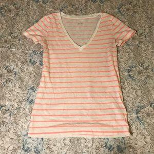 J. Crew White & Neon Pink Striped V Neck Tee Shirt