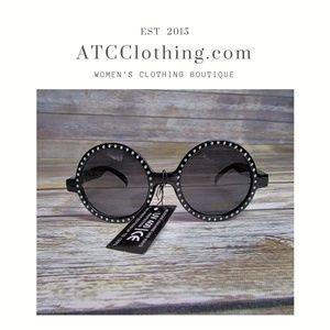 Accessories - Black Round/Circular Sunglasses with Jeweled Rim